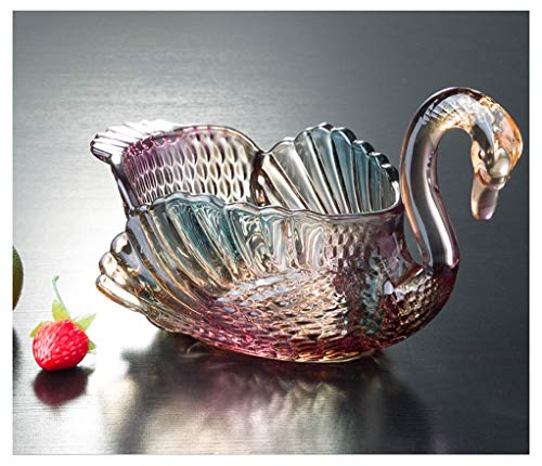 - XIAOPING Fruit Plate Glass Fruit Plate Candy Dish European Creative Living Room Wedding Gift Decoration Swan Fruit Plate -89 (color : B)
