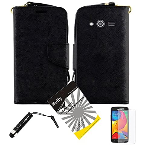 3 items Combo: ITUFFY (TM) LCD Screen Protector Film + Stylus Pen + 2-Tone Leather Wallet & ID Card Case with lanyard for Samsung Galaxy Avant SM-G386T / Samsung Core LTE G386 (Wallet - Black / (Samsung Galaxy Core Lte Case G386)