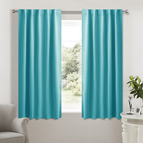 Living Room Blackout Curtains and drapes - (Turquoise Blue Color) 42x54 Inch, 2 Panels, Thermal Insulated Room Darkening Rod Pocket & Back Loop Drapery Panels for Kids Bedroom by (Panel Drapery Thermal)
