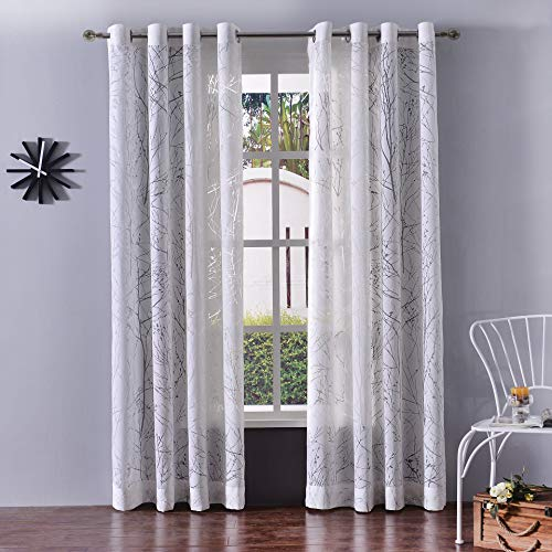 bluCOASTLINE Sheer Curtain Branch Pattern Window Voile Panels Bedroom & Living Room, 52x84 inch, Set of 2, Off-White