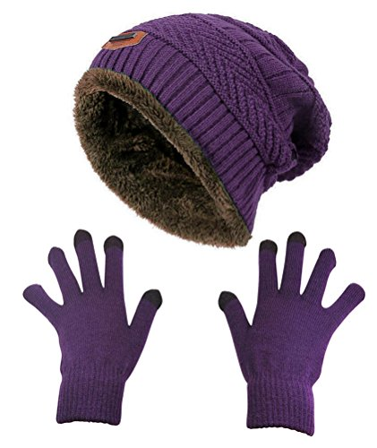 HINDAWI Slouchy Beanie Gloves for Women Winter Hat Knit Warm Snow Skull Cap Touch Screen Mittens (Hat and Gloves (Purple))