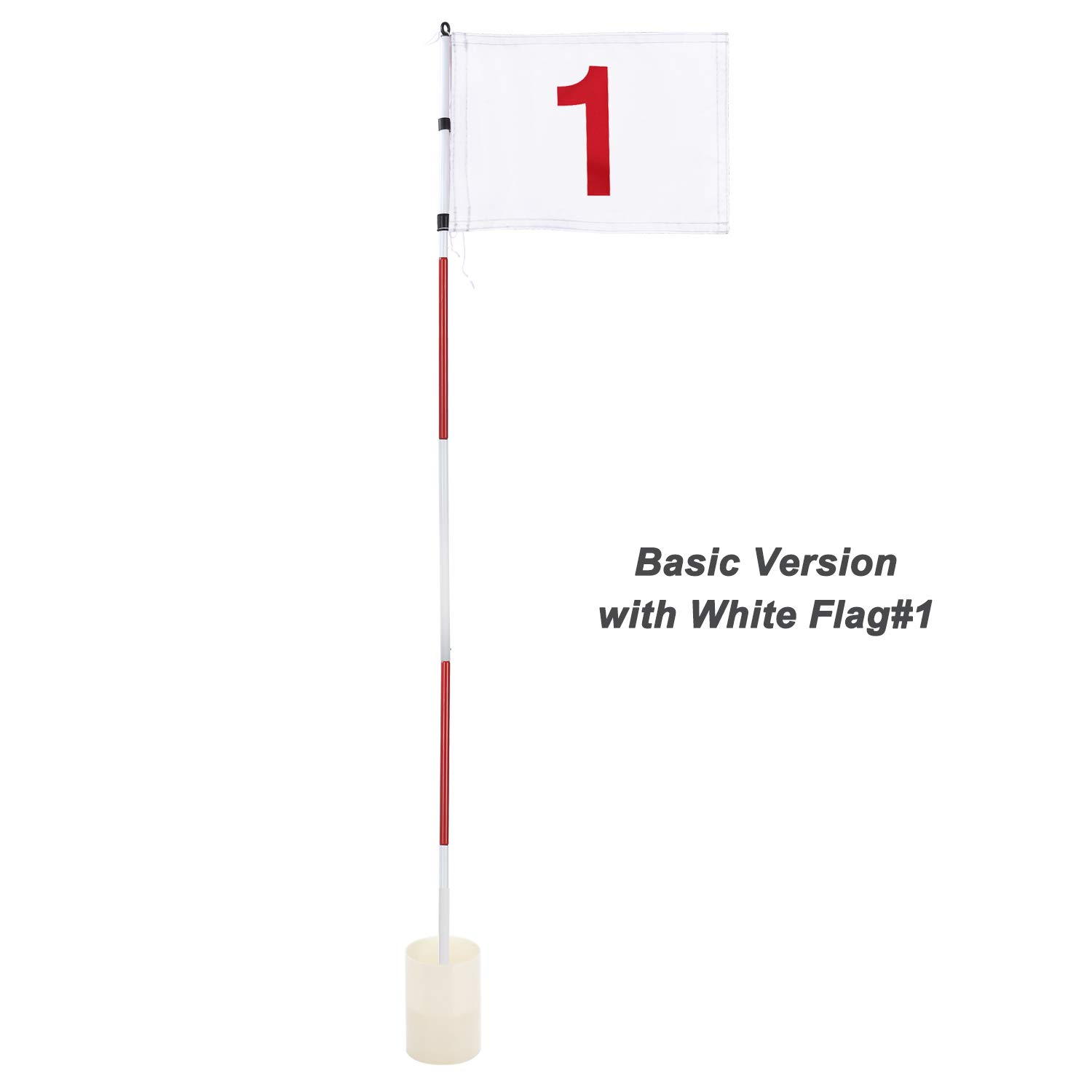 KINGTOP Professional Golf Pin Flag, Practice Putting Green Flagstick Hole Cup Set, Indoor/Outdoor, Portable 5-Section Design, Solid Red Flag Numbered #1, Both 71-inch (Basic)