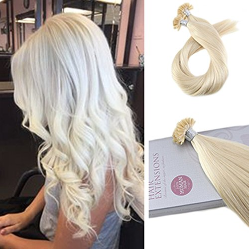 Moresoo 18 Inch Remy Fusion Hair Extensions U Tip Hair Extensions Pre-bonded Extensions Human Hair Natural Blonde #60 Nail Tip Hair Extenison Real Hairs 1G/1S 50G
