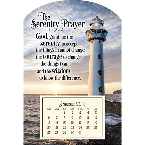 Serenity Lighthouse - Mini Magnetic Calendar -Ideal for Refrigerator, Filing Cabinet or Tool Box - 4 inches x 6 inches - Serenity Lighthouse