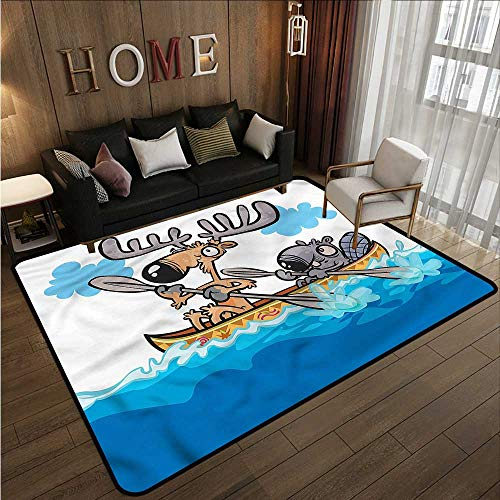Classroom Rug Moose Native Animals Cartoon Anti-Slip Doormat Footpad Machine Washable 5'10