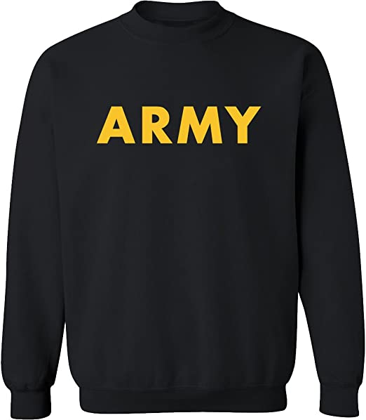 Black ARMY Crewneck Sweatshirt with Gold print Adult Small to 5X