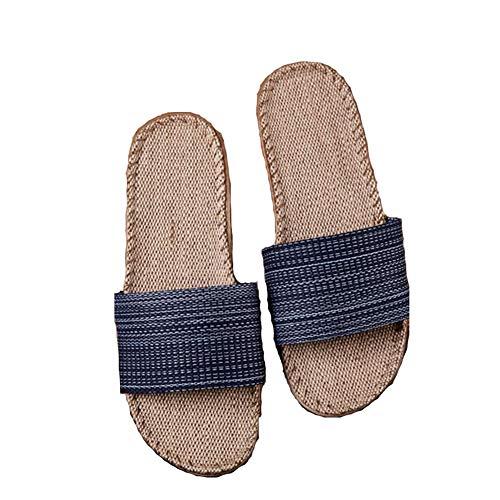 Dayumoo d'intérieur Bleu Linen Pantoufles Cozy Unisexe Summer Skidproof rrwHx7q