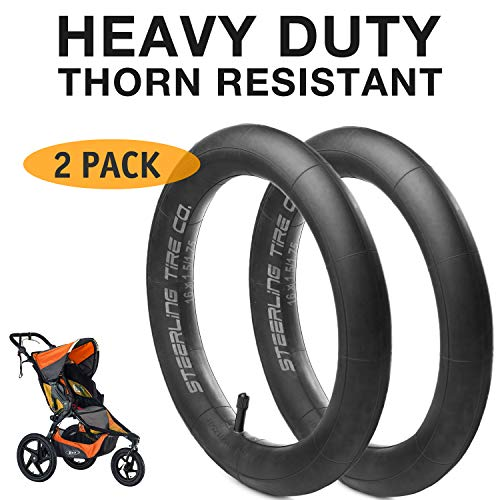 - [2-Pack] 16'' x 1.5/1.75 Heavy Duty Thorn Resistant Inner Tire Tube for BOB Revolution SE/Flex/Pro/Sport Utility/Ironman Strollers - The Perfect BOB Stroller Tire Tube Replacement