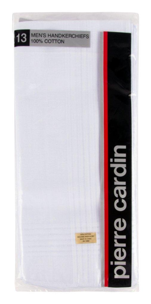 Pierre Cardin Unisex-Adult's Handkerchief, 100% Cotton, 16'' L x 16'' H, White, 13 Piece