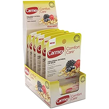 Carmex Lip Balm Stick Comfort Care Mixed Berry 0.15 Ounce (6 Pieces) (4.4ml)