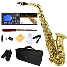 Mendini E-Flat Alto Saxophone, Gold Lacquered and Tuner, Case, Pocketbook - MAS-L+92D+PB