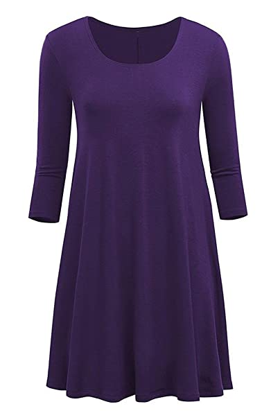 5363418b16ad Poetsky Womens Long Sleeve Solid Loose A-Line Tunic Dress at Amazon ...
