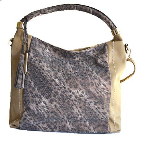 women fashion leopard cheetah animal hobo shopper handbag purse (KHAKI)