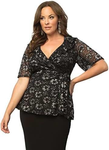 Kiyonna Women's Plus Size Lustrous Lace Wrap Top