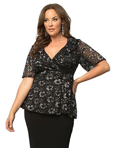 Kiyonna Women's Plus Size Lustrous Lace Wrap Top 1X Sparkling Noir - Metallic Lace Ruffle Top