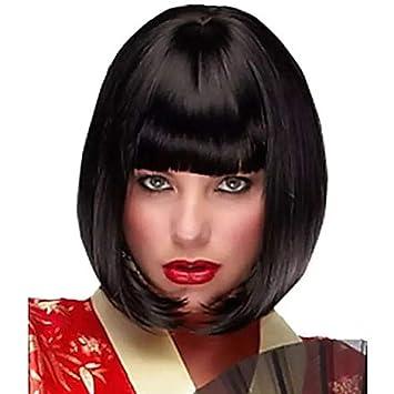 Bob pelucas de pelo sintético corto y lacio para mujer, flequillo ...