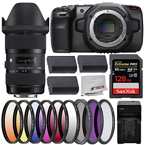 Blackmagic Design Pocket Cinema Camera 6K with Sigma 18-35mm f/1.8 DC HSM Art Lens, and Deluxe Bundle; Includes: SanDisk Extreme PRO 128GB Memory Card, 3X Spare LP-E6 Batteries, and More