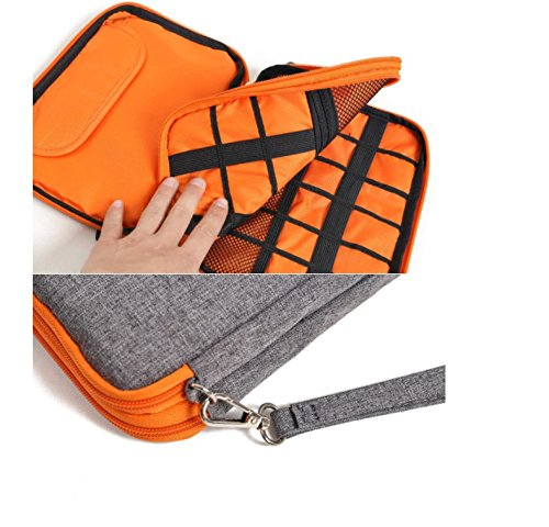 METORY Travel Accessories Electronics Organizer, Universal Cable Management Organizer Travel Bag For USB, Phone, iPad, Charger and Cable (Double Layer, Large, Grey and Orange) by METORY (Image #6)