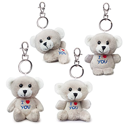 Bear of Allan Stuffed Animal Mini Teddy Bear Keychain Set, Pack Four, 2.57Inch (Gray) ()