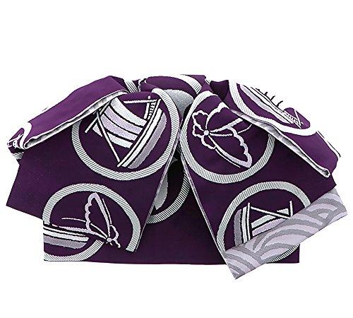 リマ大工提出する[ KIMONOMACHI ] リボンタイプ 結び帯単品「紫色 丸紋」
