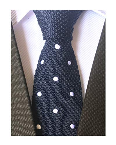 Secdtie Men's Navy Blue Knit Ties Classic Patterned Business Narrow Slim Necktie