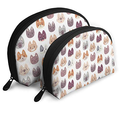 MFILM FVAFN Kitty Cat Faces Makeup Storage Bag, Portable Small Shell Handy Organizer Pouch for -