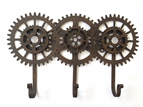 [Cog and Gears Triple Hooks Industrial Vintage Steampunk Style Metal Coat Rack] (Steampunk Decorations)