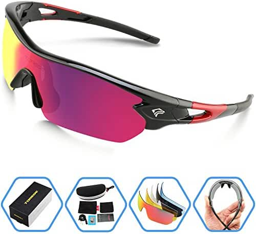Torege Polarized Sports Sunglasses With 5 Interchangeable Lenes for Men Women Cycling Running Driving Fishing Golf Baseball Glasses TR002