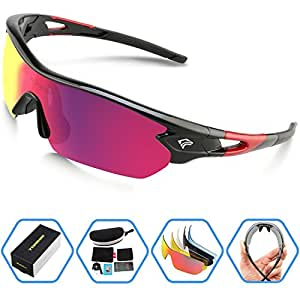 Torege Polarized Sports Sunglasses With 5 Interchangeable Lenes for Men Women Cycling Running Driving Fishing Golf Baseball Glasses TR002 (Black Red &Red lens)