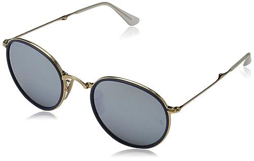 Ray-Ban Occhiali da sole rotondi in oro blu verde specchio argento RB3517 001/30 51