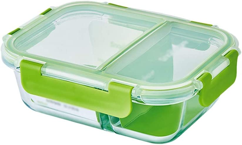 Ping Bu Qing Yun Fresh-keeping box, separate glass fresh-keeping box microwave oven lunch box office lunch box, single container (Size : 1000ml)