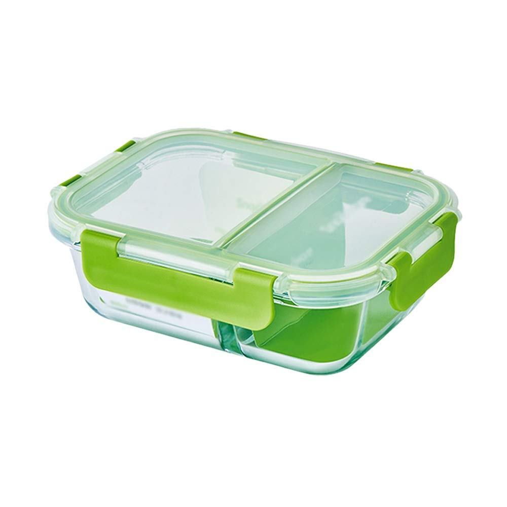 Jun Feng SHop Fresh-keeping box, separate glass fresh-keeping box microwave oven lunch box office lunch box, single container (Size : 1000ml)