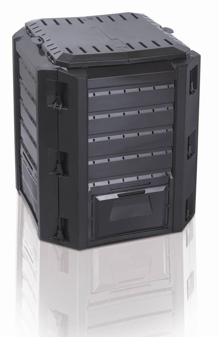 Komposter Compogreen mit 380 Liter Fassungsvermögen und zwei Öffnungen zum Füllen und Entnehmen - Farbe: Schwarz