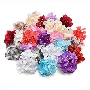 Silk Flowers in Bulk Wholesale Silk Hydrangea Heads Artifical Flowers DIY Wedding Party Home Decor Headdress Headband Flower Wall Materials Heads 20pcs 10cm 48