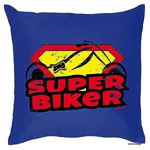 Sage haftes Cojín de Goodman Diseño: Super Biker. En Color Azul