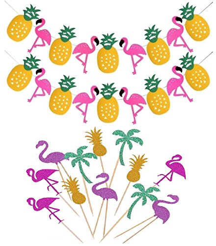 14pcs Flamingo Party Decorations Supplies Flamingo Pineapple Banner and Cupcake Topper for Luau Hawaiian Summer Party/Baby Shower -
