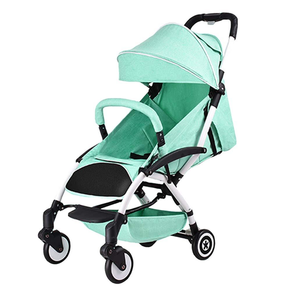 乳児用トロリー ベビーカート軽量でポータブル折り畳み式 座ることができますアルにミニウム合金 ベビーカー グリーン   B07PZYVFJS
