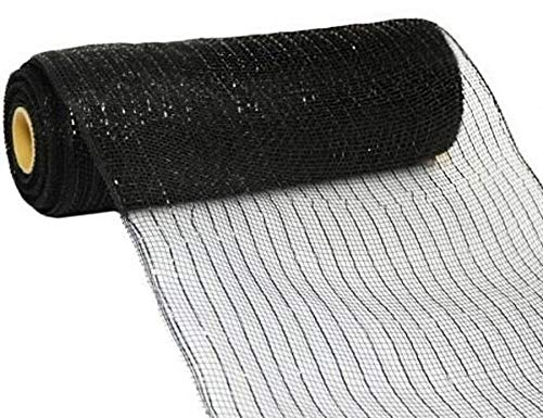 (10 inch x 30 feet Deco Poly Mesh Ribbon - Black Metallic with Black Foil: RE130102)