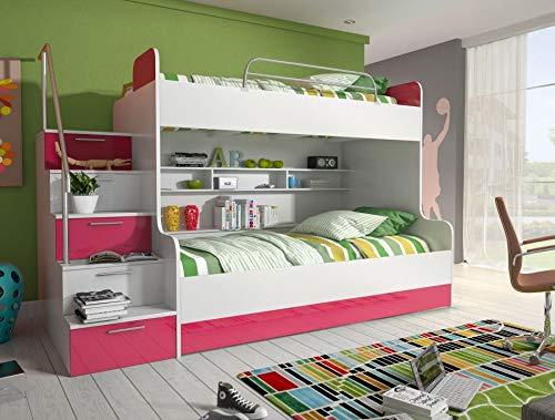 MHL Etagenbett Kinderbett Rosa mit seitlicher Treppe Links Lattenrost + 1 x Lattenrost, Matratze ohne Matratze