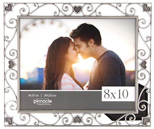 Pinnacle Frames and Accents Metal Cut Out Picture Frame with Scroll Hearts, 8x10, ()