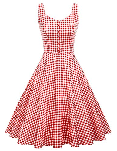 Women Sleeveless Vintage 1950s Retro Rockabilly Prom Tea Dresses M, Red Plaid