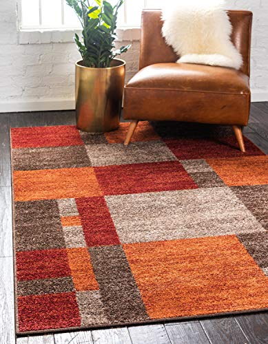 Unique Loom Autumn Collection Checkered Abstract Casual Warm Toned Area Rug, 5 x 8 Feet, Multi/Dark Brown