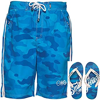 Mens Smith And Jones Carve Board Shorts And Flip Flops Le Mans Camo