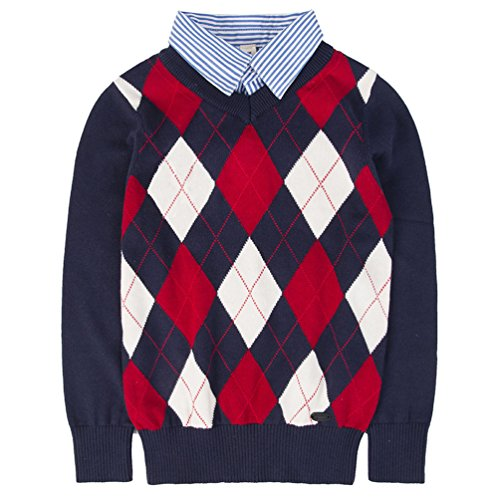 Benito & Benita Boys Sweaters V-Neck Faux Layered Uniform Sweater Long Sleeve Pullover with Argyle Patterns for (Formal Faux 4 Pattern)