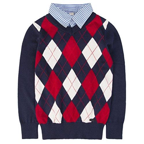 Benito & Benita Shirt Collar Boys Sweater V-Neck Argyle Kint School Uniform Knit Plaid Kids Pullover for 4-12Y Navy/Red