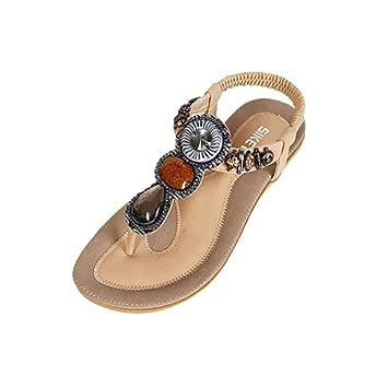 CLEARANCE SALE MEIbax damenmode süß perlenbesetzten wohnungen clip der wohnungen böhmischen fischgräten - sandalen strandschuhe (39, Schwarz)