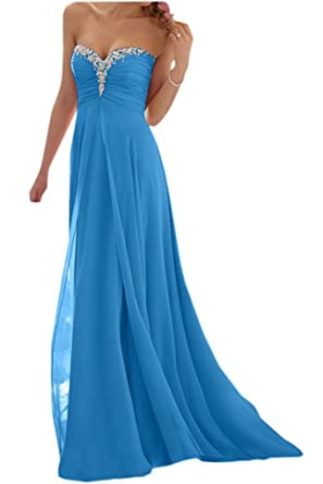 Baijinbai Formal Long Strapless Beaded Ball Gown Party Prom Dresses Bridesmaid Dress Evening Blue UK14