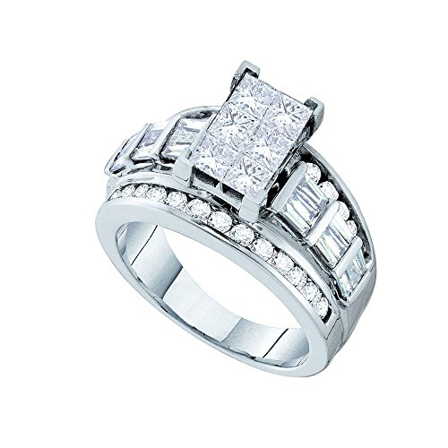 Size - 7 - Solid 14k White Gold Princess Cut Round Baguette White Diamond Engagement Ring OR Fashion Band Invisible Set Emerald-Shape Shaped Ring (3.00 cttw) ()