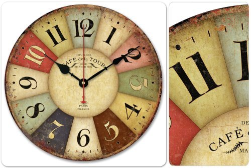 """12"""" Vintage France Paris Colourful French Country Tuscan Style Paris Wall Clock with Free Tray"""