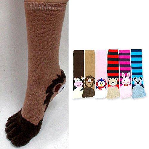 6 Pair ToeSox Calf Length Animal Women's Funny Feet Striped Toe Socks Size 9-11 by ATB